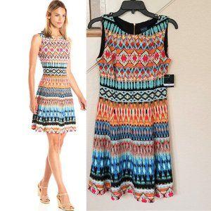 Gabby Skye Turquoise Sleeveless Tribal Print Dress